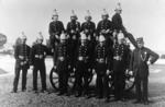 Falkirk Fire Brigade, group with horse-drawn engine