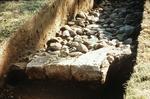 Close-up of kerb stones and stone base of Antonine Wall, Mumrills, Laurieston