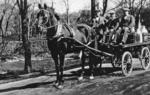 Mungall brothers on horse-drawn milk cart