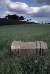 Overturned stonework column lying in field.