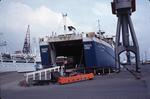 Lorry disembarking from Inger Express at Grangemouth Docks