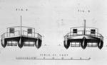 Edinburgh, Patrick Miller's 3 hulled boat.  Plan showing hulls