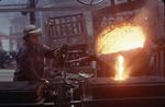 Moulder moulding at Torwood Foundry, Larbert