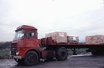 Bricks loaded onto a lorry marked G H Nixon Transport of Sandyford, Stoke-On-Trent. Dyson Refractories Ltd