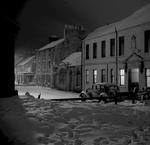 Grange Street, in snow at night, Old Grangemouth