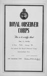 Royal Observer Corps Intermediate Test Certificate issued to Obs[erver] C Whyte.