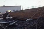 Salvaged barge from Union Canal beside canal