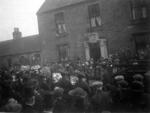 Crowds outside the Rosehall, Polmont