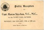 Ticket for Public Reception for Captain Harcus Strachan