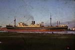 Red and black ship at Grangemouth docks