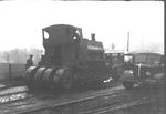 Pug steam locomotive being transported on a lorry at the National Coal Board Callendar (Policy) Colliery.