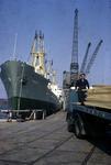 Russian ship Kynbacty unloading Polish timber at Grangemouth.