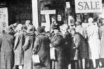 Women queued for sale in Bargain King shop, Falkirk
