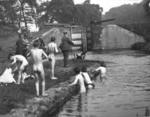 Children swimming in Canal at Junction locks
