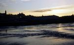 Bo'ness Harbour and skyline at dusk.
